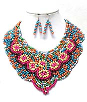 MULTI SEED BEADS FLOWER AND PATTERNS NECKLACE SET