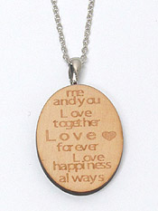 LOVE TOGETHER LOVE FOREVER MESSAGE NATURAL WOOD PENDANT NECKLACE
