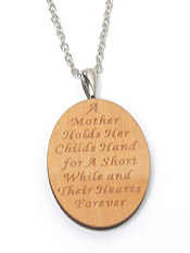 MOTHER AND CHILD MESSAGE NATURAL WOOD PENDANT NECKLACE