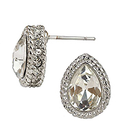 FACET GLASS AND CRYSTAL SIDE TEARDROP STUD EARRING