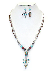 BOHEMIAN STYLE ARROWHEAD PENDANT NECKLACE SET
