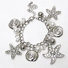 CRYSTAL DECO STARFISH AND SEALIFE THEME CHARM BRACELET