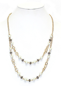 DOUBLE LAYER CHAIN DROP NECKLACE