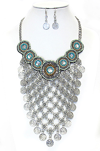 MULTI COIN DANGLE BOHEMIAN CHUNKY BIB STYLE NECKLACE SET