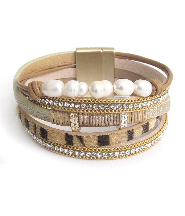 FRESH WATER PEARL AND MULTI LAYER ANIMAL PRINT MAGNETIC BRACELET