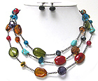 TRIPLE LAYER MIXED COLORED BEADS AND STONE NECKLACE EARIRNG SET