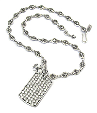 MENS STAINLESS STEEL METAL CHAIN NECKLACE - CRYSTAL DOGTAG AND CROWN PENDANT