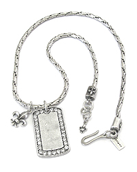 MENS STAINLESS STEEL METAL CHAIN NECKLACE - CRYSTAL DOGTAG AND FLEUR DE LIS PENDANT