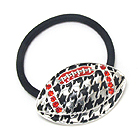 CRYSTAL AND HOUNDSTOOTH DECO FOOTBALL PONY TAIL