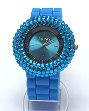COLOR CRYSTALS RUBBER BAND WATCH