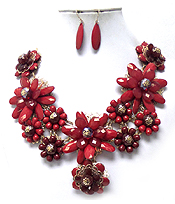 CHUNKY ACRYLIC FACET FLOWER NECKLACE SET