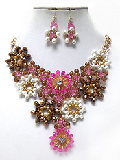 HANDMADE MULTI PEARLS AND BEADS DROP LINKED FLOWERS NECKLACE SET