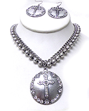 TEXTURED METAL LAYER BEADS AND CHAIN CROSS NECKLACE SET