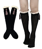 VINTAGE LACE AND TASSEL ACCENT LONG FASHION SOCKS