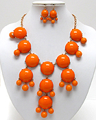MULTI ACRYLIC PUFFY ROUND BUBBLE NECKLACE EARRING SET