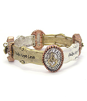 RELIGIOUS INSPIRATION MESSAGE STRETCH BRACELET - FAITH HOPE LOVE