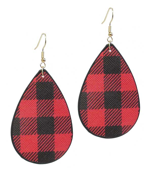 BUFFALO PLAID TEARDROP LEATHERETTE EARRING