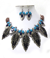 MULTI STONES AND CRYSTALS FEATHER DROP NECKLACE SET