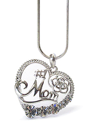 WHITEGOLD PLATING MOTHERS DAY CRYSTAL #1 MOM HEART PENDANT NECKLACE