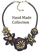 CRYSTAL AND GENUINE LEATHER AND BRASS FLOWER LINK GENUINE LEATHER CORD VINTAGE NECKLACE