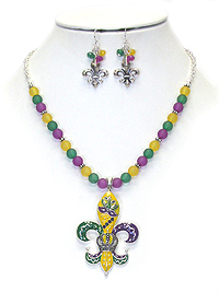 MARDI GRAS PENDANT AND BEAD NECKLACE SET