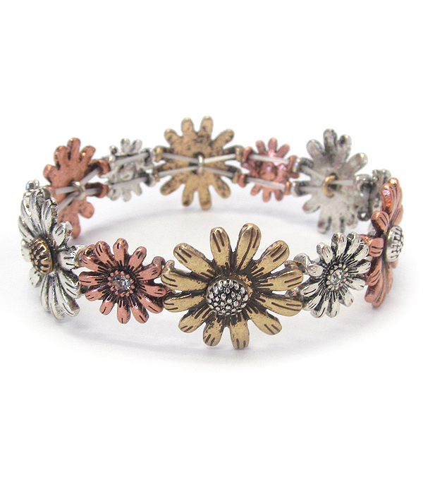 VINTAGE METAL STRETCH BRACELET - FLOWER