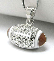 WHITEGOLD PLATING EPOXY AND CRYSTAL DECO FOOTBALL PENDANT NECKLACE