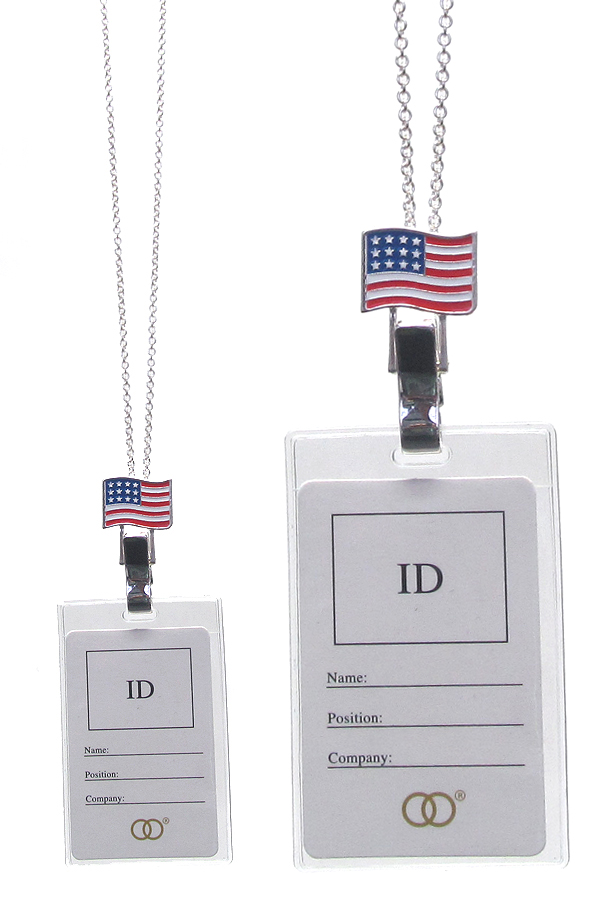 AMERICAN FLAG THEME ID HOLDER NECKLACE