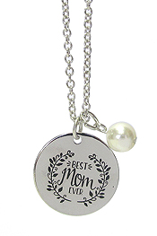 INSPIRATION MESSAGE PENDANT NECKLACE - BEST MOM EVER