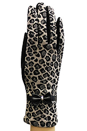 LEOPARD PATTERN WITH RIBBON FASHION GLOVES - A PAIR