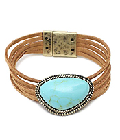 SEMI PRECIOUS STONE AND LAYERED LEATHERETTE MAGNETIC BRACELET