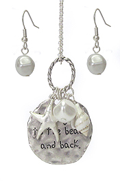 SEALIFE THEME MULTI CHARM PENDANT NECKLACE SET - I LOVE YOU TO THE BEACH AND BACK