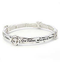 RELIGIOUS INSPIRATION STACKABLE MESSAGE STRETCH BRACELET - LORDS PRAYER