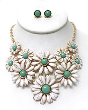 DAISY FLOWERS LINKED NECKLACE SET