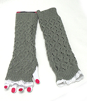 LACE OPEN FINGER KNIT GLOVE OR ARM WARMER