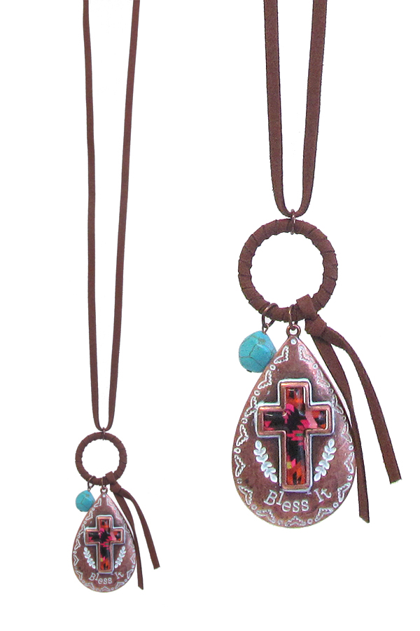 WESTERN THEME PENDANT LONG NECKLACE - CROSS - BLESS IT
