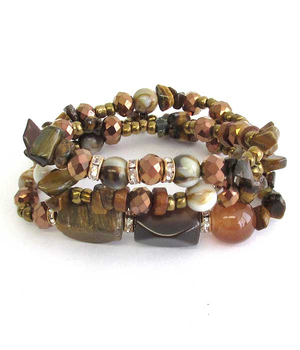SEMI PRECIOUS STONE AND GLASS BEAD MIX 3 SET OF BRACELET SET