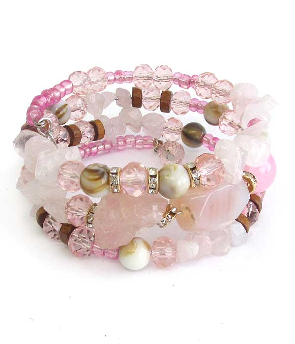 MULTI GALSS BEAD MIX COILED BRACELET