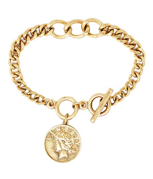 COIN CHARM chain TOGGLE BRACELET
