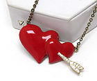 CRYSTAL EPOXY DOUBLE HEART AND ARROW LONG NECKLACE
