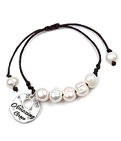 GENUINE FRESH WATER PEARL AND HAMMERED DISK AND ADJUSTABLE CORD BRACELET - AMAZING GRACE
