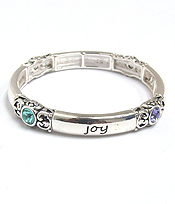 STACKABLE INSPIRATION MESSAGE STRETCH BRACELET - LOVE JOY HAPPINESS DREAM
