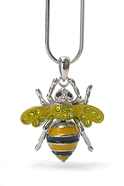 WHITEGOLD PLATING CRYSTAL BEE PENDANT NECKLACE