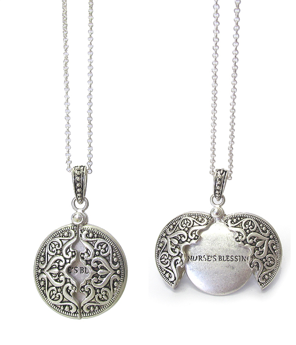 RELIGIOUS INSPIRATION MESSAGE LOCKET PENDANT NECKLACE - NURSE'S BLESSING