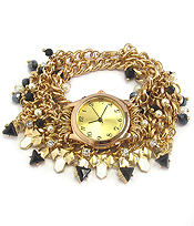 MULTI CRYSTAL AND CHAIN WRAP WATCH