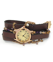 LEATHER BAND AND BEAD CHAIN MIX WRAP WATCH