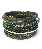 MULTI LAYER LEATHER AND GLASS BEAD MIX MAGNETIC BRACELET