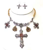 FILIGREE CUT DESIGN CROSS THEME NECKLACE SET
