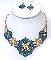 FLOWERS FILIGREE CUT OUT DESIGN NECKLACE SET
