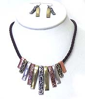 MULTI METAL TRIBAL DESIGN WITH BRAIDED CORD NECKLACE SET